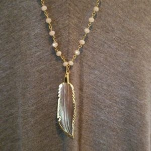 Jewelry - Hand carved feathered abalone shell necklace